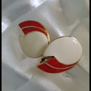 Vintage Enamel Clip on Earrings-Red and Off White